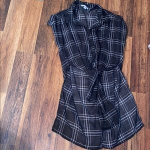 black striped checkered blouse long back and short